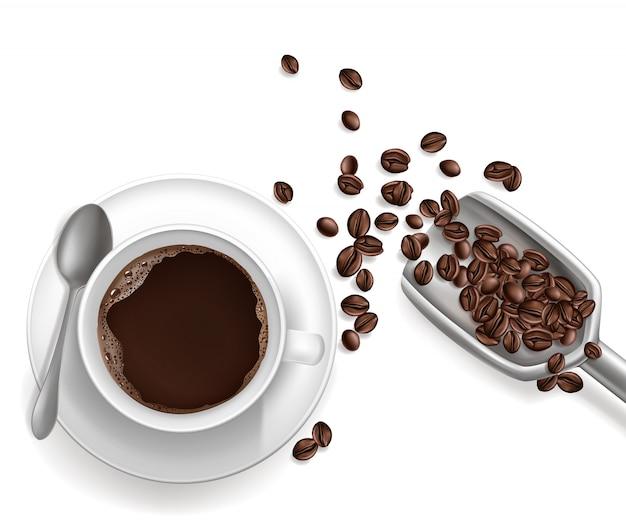 3d realistischer tasse kaffee, schaufel