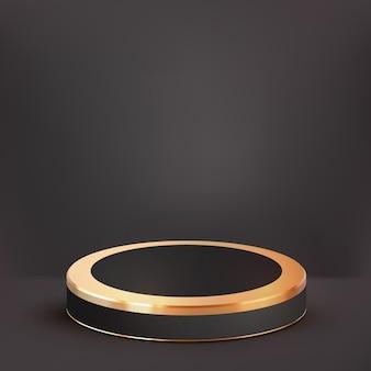 3d-realistisches luxus-schwarzgold-podium und süße wolkenhintergrund-schaufenster für luxusprodukte