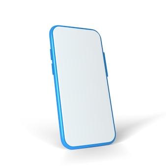 3d-realistisches mock-up-smartphone mit leerer bildschirmvorderansicht isoliert auf weißem hintergrund
