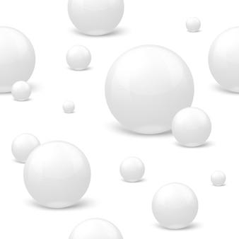 3d realistisches nahtloses muster mit weißen marmorkugeln, auf der oberfläche liegend