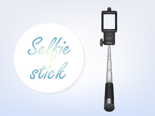 3d realistisches selfiestick, anzeigenplakat, fahne. einbeinstativ für smartphone