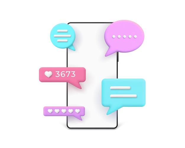 3d-realistisches telefon mit knallenden nachrichten und kommentaren in sprechblasen. smartphone-textdialog, benachrichtigung und online-chat-vektorkonzept