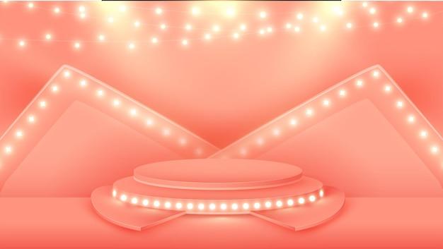 3d-renderbühne oder podiumshintergrund verziert mit beleuchtender girlande in pastellrot