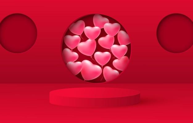 3d-rendering der liebe valentinstagstufen hintergrund oder textur