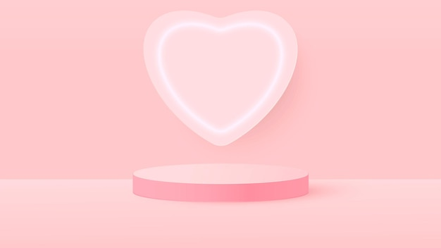 3d rendern der rosa liebe valentinstag pastell bühne illustration