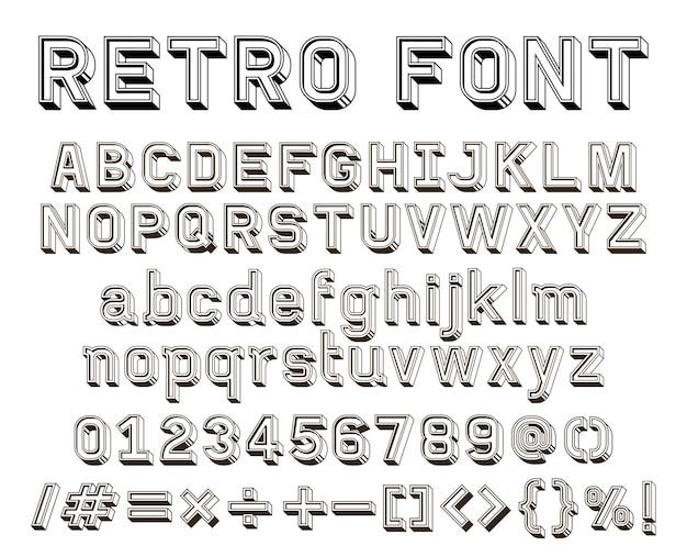 3d-retro-linie schriftart-vektor-illustration.