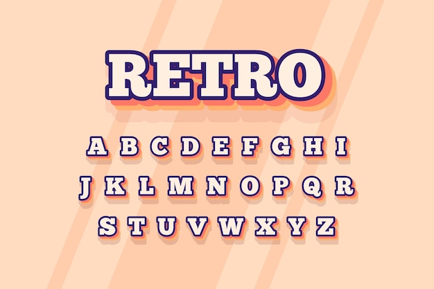 3d retro-stil für alphabet