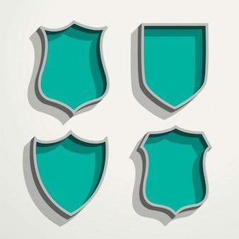 3d-retro-stil vier abzeichen gesetzt