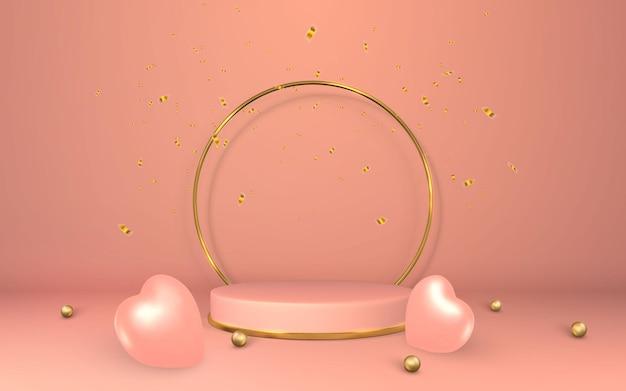 3d rosa sockel. podium auf leerem raum. bühne für produkt auf zylinderpodest. minimaler stil.