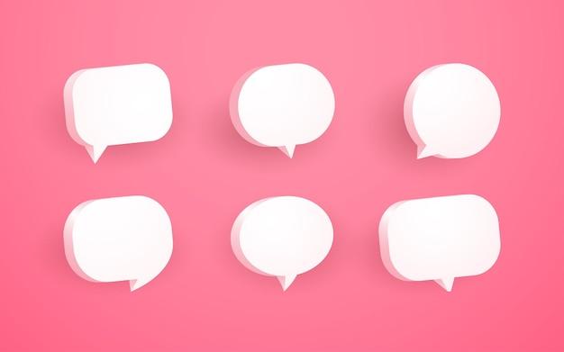 3d rosa sprechblasen-chat-symbolsammlung
