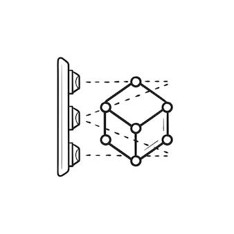 3d-scannen des von hand gezeichneten umriss-doodle-symbols des würfels. 3d-modellierung und -scan, konzept der scan-form-technologie