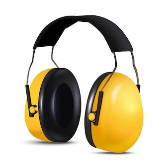 3d-sicherheitsausrüstung auftragnehmer arbeiter kopfhörer, lärmschutz. isoliert.