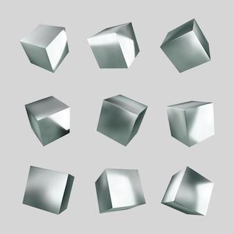 3d silberwürfel. metallische textur.