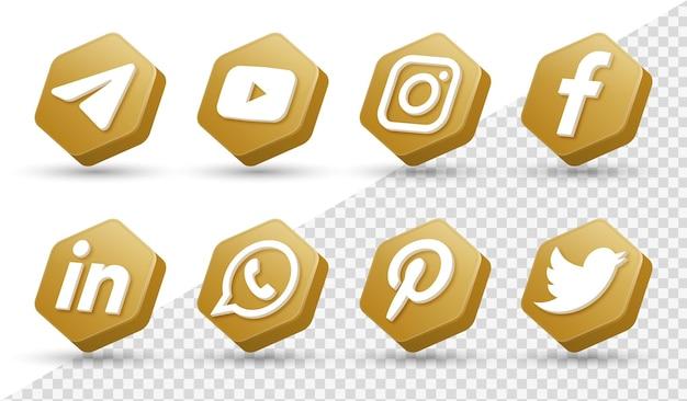 3d social media icons logos im modernen goldenen rahmen facebook instagram networking logo icon