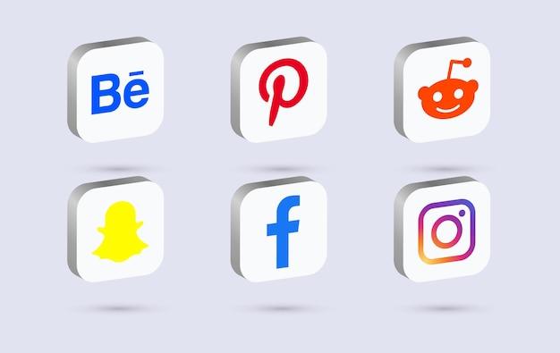 3d social media logos