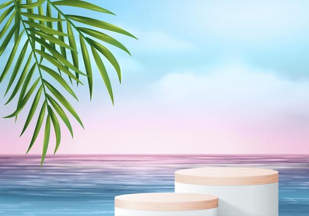 3d-sommer-hintergrundprodukt-display-szene mit blättern. holzpodest in meerblauer himmelswolke