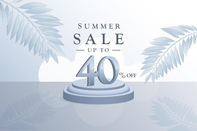 3d-sommerverkaufs-hintergrundrabatt mit vierzig 40 prozent