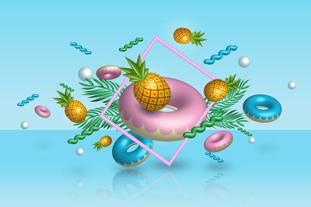 3d sommerzeit ananas und floaties