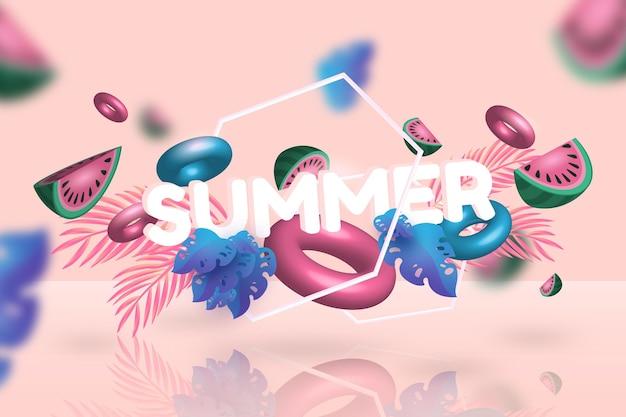 3d sommerzeit wassermelone und floaties