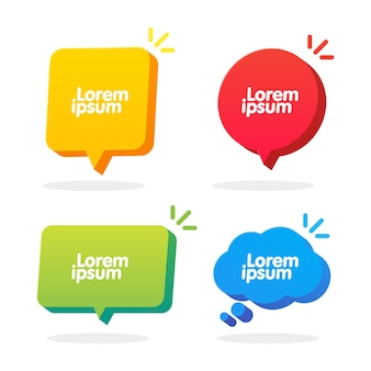 3d-sprechblase-formen-set. vektorwolke, quadrat, kreis und rechteck-chat-box-banner. banner, aufkleber, tag, ausweisvorlage mit platz für text.