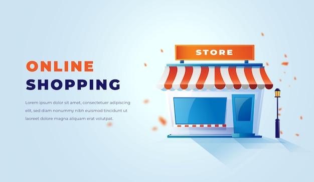 3d store und online-shopping mit sauberem, elegantem 3d-design