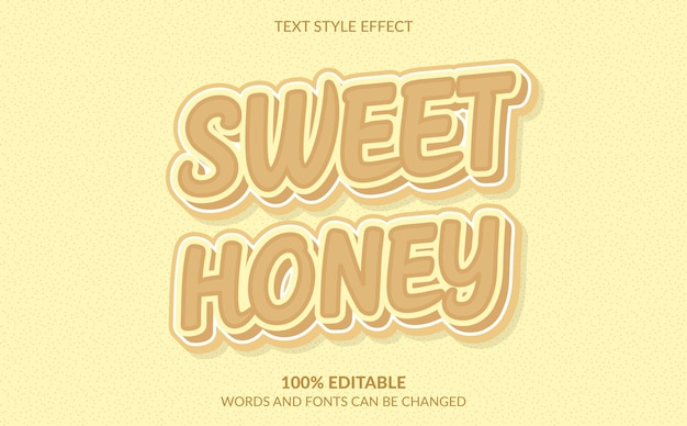 3d süßer honig-text-stil-effekt Premium Vektoren