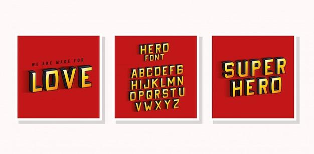 3d superheld lieben schriftzug und alphabet auf rotem hintergrund