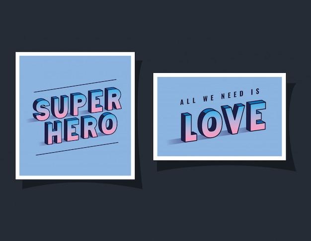 3d-superheld und liebesbeschriftung auf blauem hintergrund