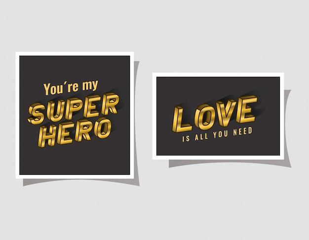 3d-superheld und liebesbeschriftung auf grauem hintergrund