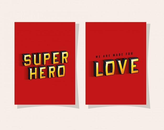 3d-superheld und liebesbeschriftung auf rotem hintergrund