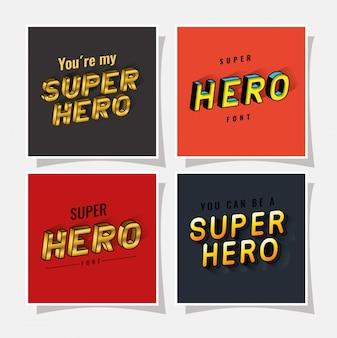 3d-superhelden-schriftzug auf rotem und grauem hintergrund