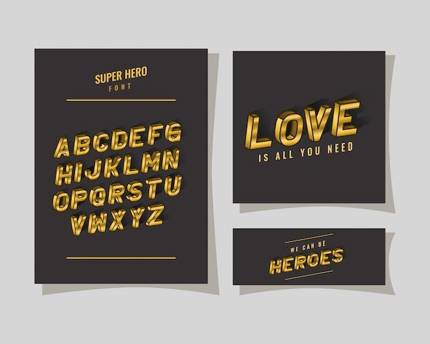 3d-superhelden-schriftzug und alphabet auf grauem hintergrund