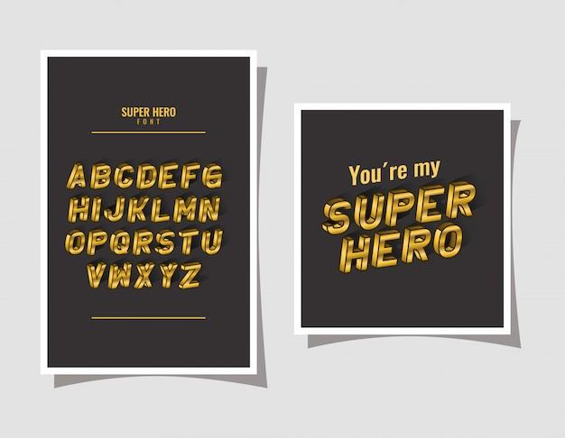 3d superheldenbeschriftung und alphabet auf grauem hintergrund
