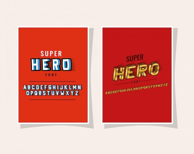 3d superheldenbeschriftung und alphabet auf rotem hintergrund