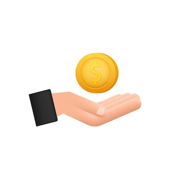 3d-symbol mit goldhand mit dollarmünze für konzeptdesign einfacher vektor finanzsymbol