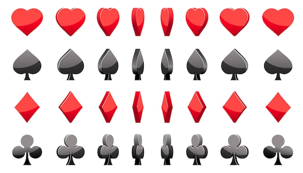 3d-symbole pokerkarten, rotation des animationsspiels