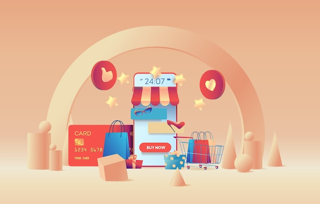 3d-szene eines online-shops