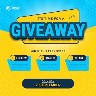 3d-texteffekt mit giveaway-schritten für social-media-posts mit 3 schritten zum gewinnen