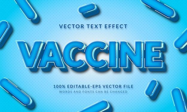 3d-textstileffekt des blauen impfstoffs