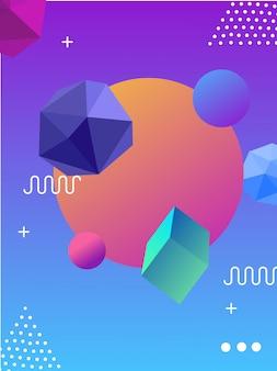 3d und memphis hintergrund mit farbverlauf