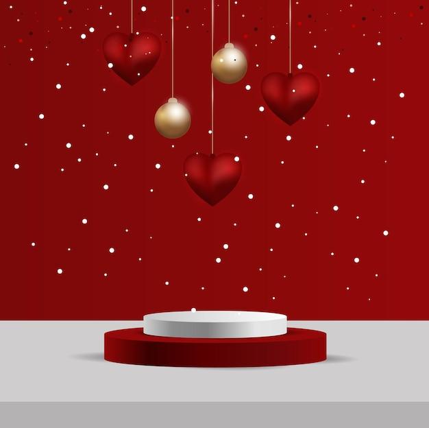 3d-valentinstag-podiumszene für produktanzeige oder -platzierung