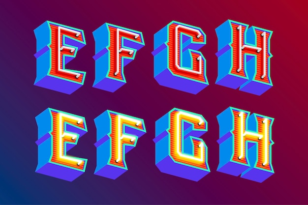 3d vintage buchstaben mit fluoreszierenden neonlichtern und ein / aus-schaltermodus