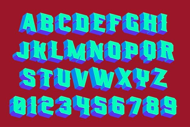 3d vintage buchstaben mit neonlichtern