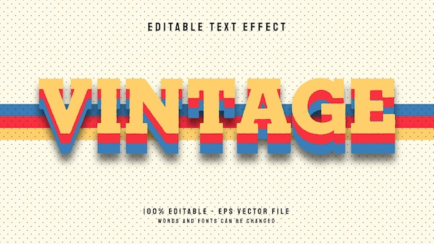 3d vintage letzter bearbeitbare texteffekt-vektorvorlage