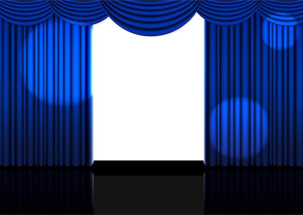 3d-vorlage realistisch offener blauer vorhang.