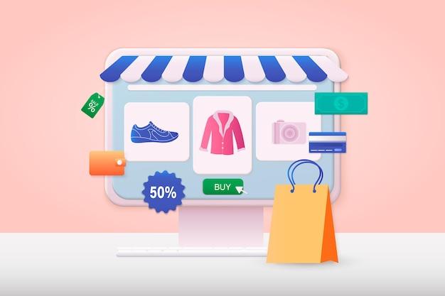 3d-web-illustrationen online-shoppingdesign grafische elemente zeichen symbole mobile marketing und digitales marketing