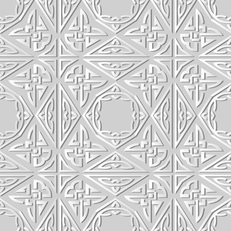3d-weißbuchkunst-dreieck-polygon-aboriginal-kreuzrahmenkette, stilvolles dekorationsmuster.