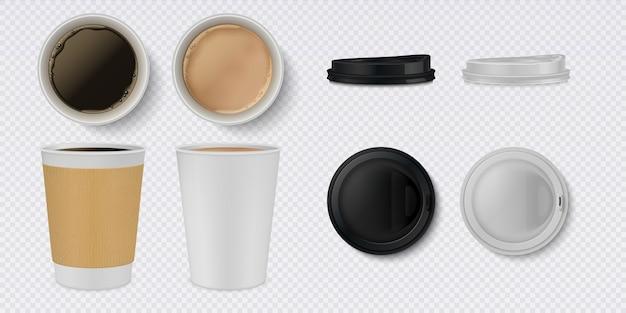 3d weiße und braune tasse und tassen mit draufsicht