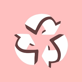 3d weißes recycling-pfeil-symbol auf rosa hintergrund-flache vektor-illustration