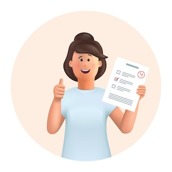 3d-zeichentrickfigur. junge frau jane stehend mit testprüfungsergebnissen, bildungstest, fragebogendokument, das daumen hoch zeigt.